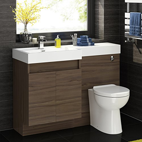 Walnut Vanity Units For Bathroom: 1200mm Walnut Vanity Unit Modern Toilet Bathroom Sink