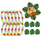 SIMUER Ghirlanda Hawaiana Collana Decorazione per Tropicali Tema,Foglie di Palma Tropicale e Fiori di Ibisco Ghirlanda Hawaiana Fiori Collana Spiaggia Tema Tropicale Party Decorazione 48Pezzi