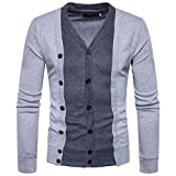 Challyhope Men Slim Fit Long Sleeve Patchwork Double Button Cardigan Blouse Tops (XXL, Gray)