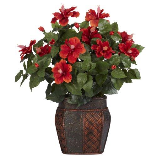 Nearly Natural Fast Natur 6667Hibiscus mit Vase Dekorative Silk Pflanze, rot (Hibiscus Flower Vase)