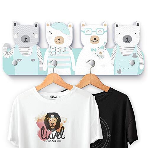 luvel - (G6) Kindergarderobe mit 4 Haken, viele Motive, Maße ca.: 40 x 15 x 1 cm, Wandgarderobe, Kleiderhaken, Wandhaken, Kindermöbel, Garderobenhaken, Kinderzimmer (Mehrfarbig) (Bären mintgrün)