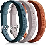 iBREK Fitbit Flex 2 Silicona Pulsera Recambio con Acero Hebilla-3 Pack:Castañas/Gris/Pizarra