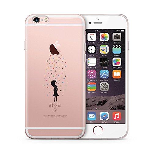 Cujas® | Transparent Premium Silikon TPU Schutzhülle Motiv Case Schutz Weich (iPhone 6S / 6 Bunter Regen)