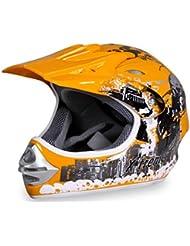 Motorradhelm X-treme Kinder Cross Helme Sturzhelm Schutzhelm Helm für Motorrad Kinderquad und Crossbike in gelb