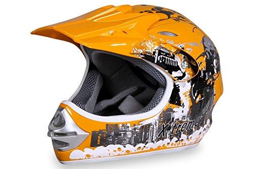 Motorradhelm X-treme Kinder Cross Helme Sturzhelm Schutzhelm Helm für Motorrad Kinderquad und Crossbike in gelb (Large)