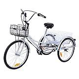 Ridgeyard Dreirad Für Erwachsene 24 Zoll 6 Geschwindigkeit 3 Rad Fahrrad Dreirad Pedal mit Warenkorb(Silber)