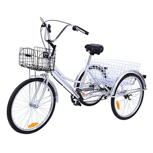 """Ridgeyard triciclo adulto 24 """"6 velocidades bicicleta 3 ruedas adulto con Cesta de la compra(plata)"""