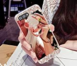 Custodia Huawei Nova 2 Plus, Cover Huawei Nova 2 Plus Specchio con Anello, SainCat Custodia in Ultra Slim Glitter Silicone Cover per Huawei Nova 2 Plus, Custodia Silicone 3D Orso Brillantini Bling Paillettes Strass Silicone Case Ultra Sottile Morbida Gel Ultra Soft Cover TPU Case Ultra Thin Custodia Cover Bumper Antipolvere Ultra Protettiva Anti-scratch Coperture Bumper Cover per Huawei Nova 2 Plus-Oro Rosa