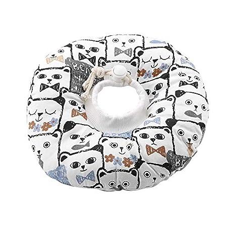Smandy Haustier Halsband Schutzkragen, verstellbar, leicht, aufblasbar, mit süßem Katzengesicht Muster, zum Schutz von Kätzchen