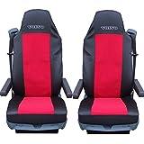2x Camiones Fundas de asiento negro de color rojo Funda de asientos para camiones volvo FL Fe FM fh12FH16