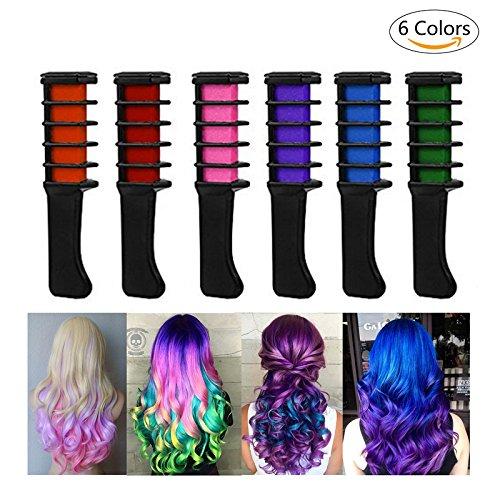 Haarkreide,iPtreey 6 Haar Farben Haarkreide Kamm Set Haarkreide Rot Kinder Haarkreide Teenager, haarkreide für braune haare