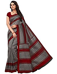 Fragrance Trendz Women's Bhagalpuri Silk Printed Saree With Blouse Piece.(Bhagalpuri 735_Maroon_Free Size)