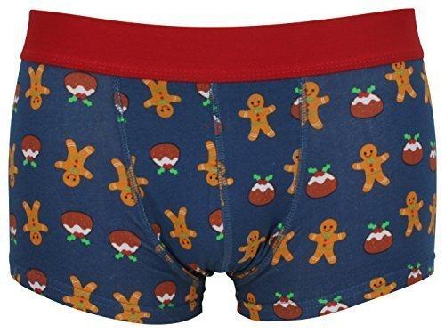 Tom Franks Herren Neuheit Weihnachten Hipster Boxer Badehose - blau Lebkuchen, Small