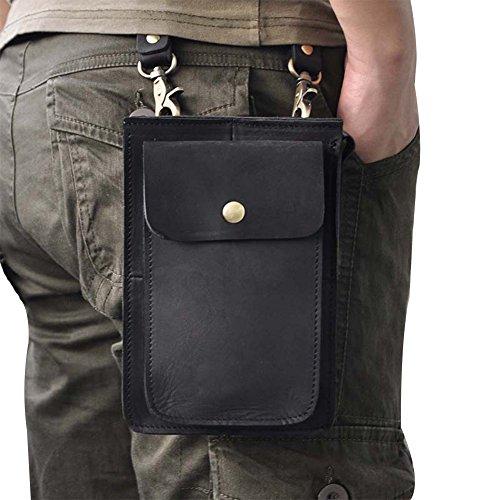 Genda 2Archer Leder Mini Crossbody Tasche Tragbare Telefon Tasche Gürteltasche Schwarz