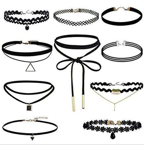 10 Stück Hoker Halskette Velvet Spitze Choker Halsketten Stretch Elastische Halskette Tassel Ketten,...