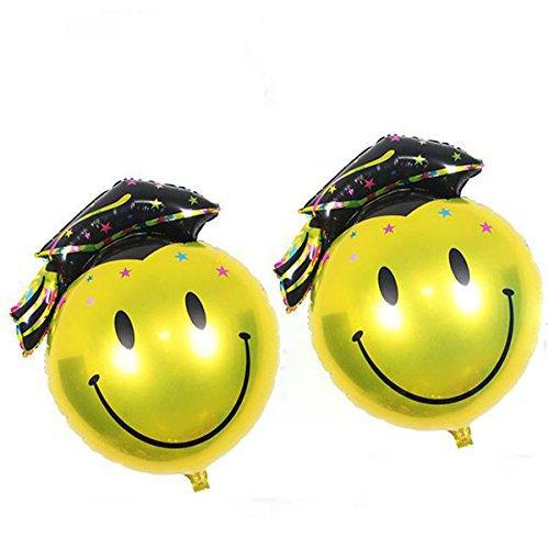 KAIMENG Graduación Globo Graduación Papel de fiesta Suministros de decoración de globos,2 piezas (cara sonriente negra, 68 * 48cm)