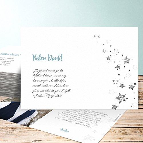 Jugendweihe Danksagungskarten, Sternenlicht 5 Karten, Horizontal einfach 148x105 inkl. weiße Umschläge, Grün