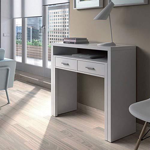 Habitdesign 004582BO - Mesa de Escritorio Extensible, Color Blanco Artik, 98.5 x 87.5 x 36-70 cm de Fondo