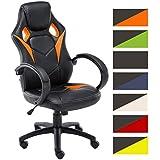 CLP Silla de oficina MAGNUS, con altura del asiento regulable entre 49-59 cm, tapizada en piel sintética, diseño deportivo, asiento, respaldo y reposabrazos acolchados, tapizado en varios colores naranja