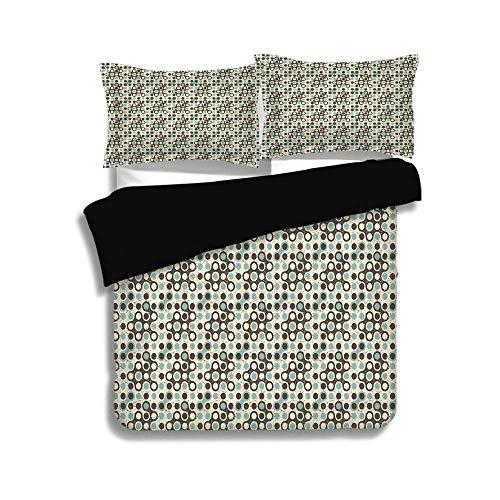 Schwarzer Bettbezug Set, geometrische, Grunge Display kreisförmige Flecken Vintage Design moderne Kunst Elemente, dunkelbraun Elfenbein Mandel, dekorative 3 Stück Bettwäsche Set von 2 Pillow Shams, TW - Trockner Mandel