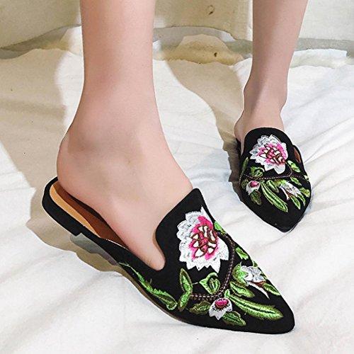 DM&Y 2017 stile europeo e americano ricamo Baotou pistoni pigri pantofole mezzo con sandali piatti Ms. Black