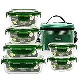 Stapelbarer Vorratsbehälter Für Lebensmittel, Hitzebeständige Glas-Lunchbox Mikrowelle Aufbewahrungsbox Kühlschrank Mit Deckel Glasschüssel 6 Sätze