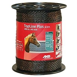 AKO Top Line Plus Weidezaunband, 40mm, braun - 200m - Widerstand: 0,18 Ohm, Sehr Gute Leitfähigkeit für Alle Zaunanlagen - Universell einsetzbar