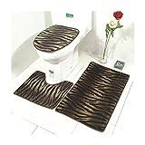 X-Life Leopardendesign Badgarnitur 3 tlg. Set auf Mikrofaserflanell, Wasseraufnahmekapazität Rutschfest, für Stand-WC (Bad Teppich 50x80cm + Pedestal Teppich 40x50cm + WC-Deckel-Bezug 40x45cm)