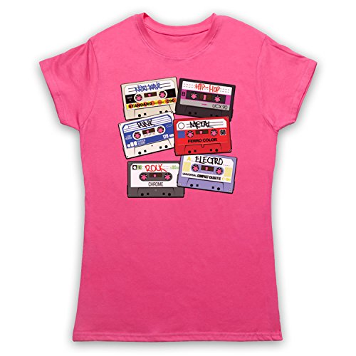 My Icon Art & Clothing Cassette Tapes Retro Mix Tape Camiseta para Mujer, Rosa, Small