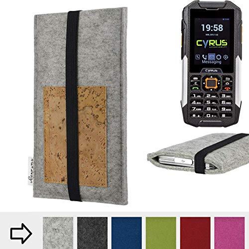 flat.design für Cyrus cm 16 Handyhülle Case Sintra mit Kartenfach (Natur) und Gummiband-Verschluss (schwarz) - passgenaue Smartphone Tasche Schutz Hülle aus 100% Wollfilz (hellgrau) für Cyrus cm 16