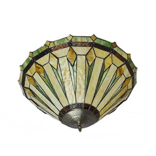 GJX Tiffany Style Deckenleuchte, 22-Zoll-Glasmalerei Kunst Deckenleuchte, europäischen Einfach Verdeckt Wohnzimmer Schlafzimmer dekorieren Deckenleuchte E27 Ohne Lichtquelle (Tiffany 22 Deckenleuchte)