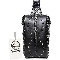 YOOME Bolso bandolera de piel sintética con diseño de dragón doble 3D para hombre, estilo casual, estilo cruzado - YooHJ0012 Black, S, Negro