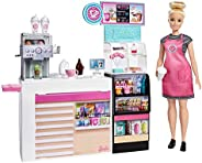 Barbie Coffee Shop with 12-in/30.40-cm Blonde Curvy Doll & 20+ Realistic Play Pieces G
