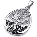 Konov Jewellery Mens Womens Irish Celtic Tree of Life Stainless Steel Pendant Necklace, Colour Black Silver, 18-26 inch Chain (with Gift Bag)