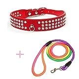 WHFDRHCWXQ Haustierhalsband 1 Stücke Pu Hundehalsband Perros + 1 Stücke Pet Leine Trainingsleinen Seil Leinen Halsbänder Für Kleine Hunde,L