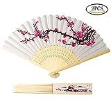 siming eventail pliable en bambou, 2 pièces fans de bambou motif de fleur de prunier accessoire