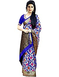 SilverStar Blue Color Printed Benglori Silk Festival Wear Saree With Print Design Blouse Piece