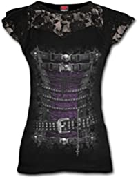 Spiral Femmes 'Steampunk corset taille haute' dentelle couches Top