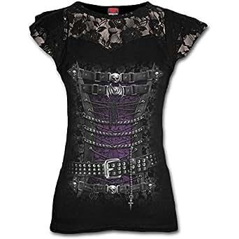 Spiral Femmes 'Steampunk corset taille haute' dentelle couches Top