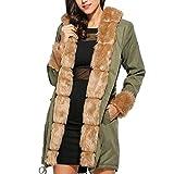 Luckycat Warme Damenjacke im Langen Mantel mit Kapuze und großer Windjacke Jacken Mäntel Sweatjacke Winterjacke Fleecejacke Steppjacke