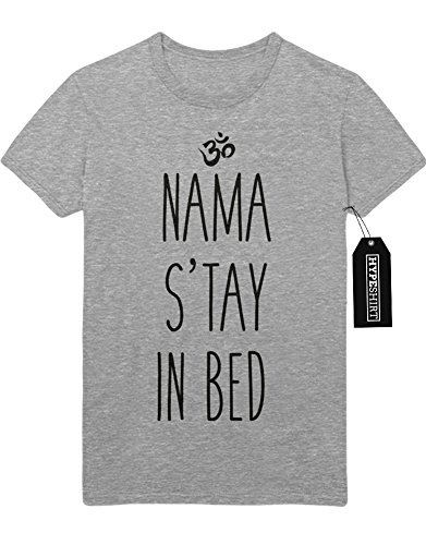 T-Shirt NAMA STAY IN BED EAT SLEEP RAVE REPEAT Hipster Chill Mood Sloth Day F960006 Grau