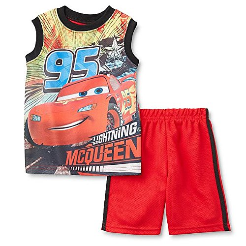 Batman Cars Ninja Turtle 98/104 Sommer Outfit T-Shirt + Shorts 2 teiliges Set Junge Sommer Kombination (rot (Cars)) (Disneys Outfits Cars)