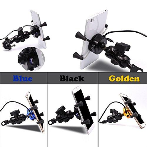 ETbotu Motorrad Handy Halterung Für 8,9–15,2cm Phone KFZ USB Ladegerät mit Schalter (Kunststoff-verstellbarer Cart)