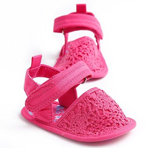 Sandales bébé fille,Auxma Bébé Chaussures Chaussures en tricot de bébé,Chaussures d'été pour bébés Soft Sandals Pour 3-6 6-12 12-18 mois (3-6 M, blanc) Rose vif