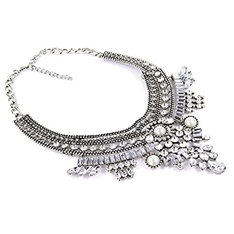 Contever® Elegant Lady's Crystal Choker Chunky Collar Necklace Jewelry (Silver)