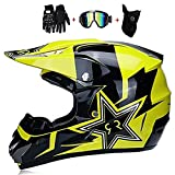 LOOSMD A Motocross Helm Kinder,Rock Star Yellow Full-Face Motorradhelm Enduro Motocross Erwachsene...