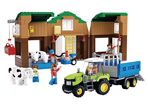 Funstones - Bausteine Bau Steine Set : Bauernhof + Kühe + Traktor + Anhänger + Figuren Mänchen (Lego City Bauernhof-tiere)