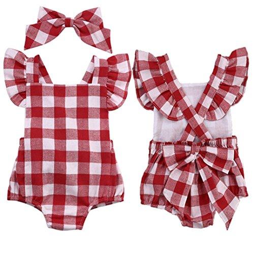 Koly_Neonata appena nata del cotone di bowknot vestiti della tuta del pagliaccetto tuta Outfit Set (90, Rosso)