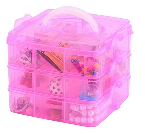 1 Pc. Transparent Multi Utility Storage Box with 3 Removable Layers and 18 Removable Dividers