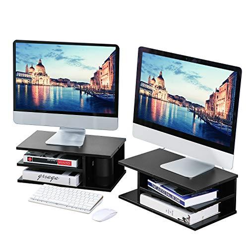 Rfiver DO1003 Ständer für zwei Monitore, Drucker-Ständer für Schreibtisch mit vielseitiger Aufbewahrung, schwarzes Holz, Schreibtisch-Organizer - 2 Stück für Zuhause und Büro, 2 Stück -